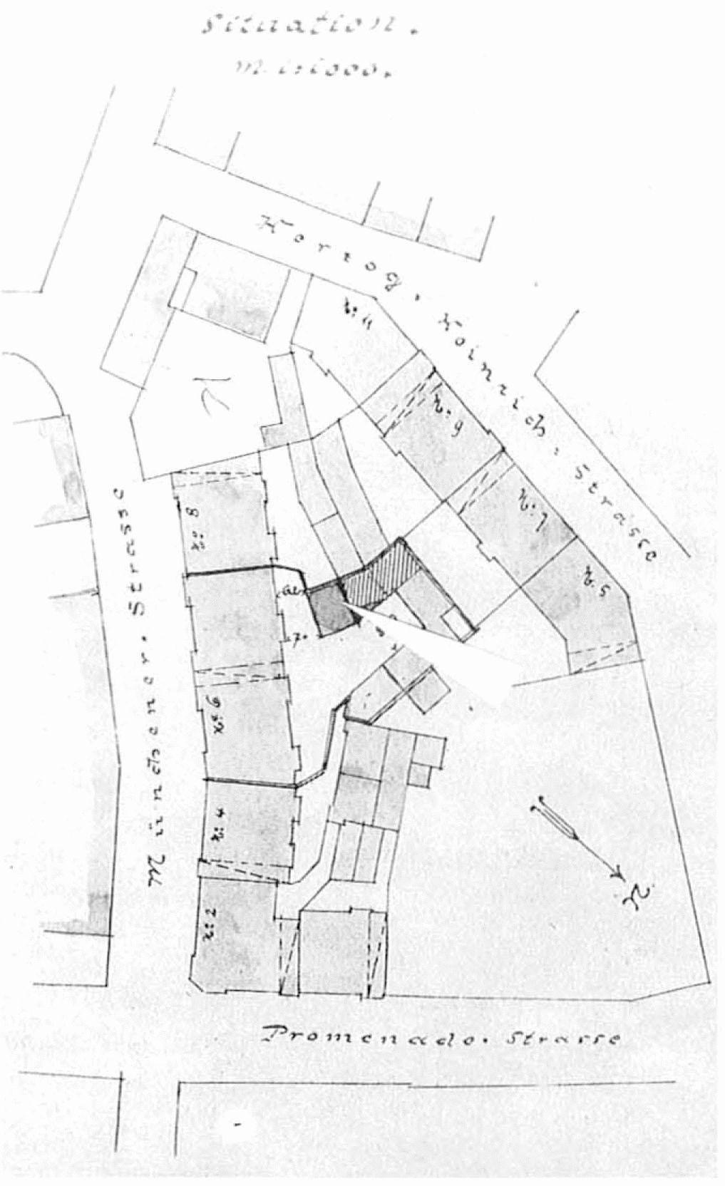 5c2d002527bd75 Abb. 57 Lageplan Gillitzerblock  im Innenhof gekennzeichnet das Simson sche  Atelier